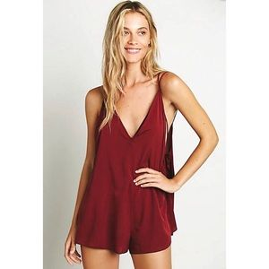 FREE PEOPLE | Burgundy Red Strappy Romper Outfit